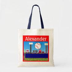 2013 Kids Sports Personalized Baseball Tote Bag at Zazzle