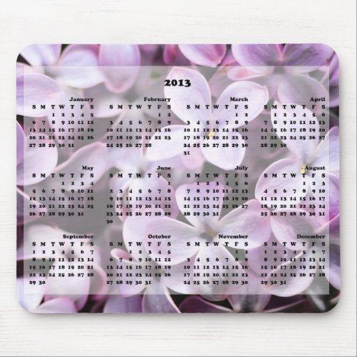 2013 lilas Mousepad del calendario