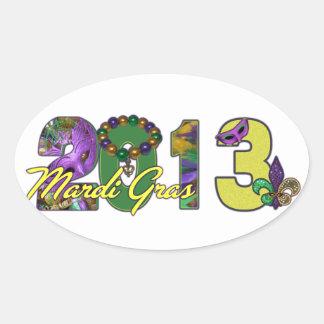 2013 Mardi Gras New Orleans Word Art Oval Sticker