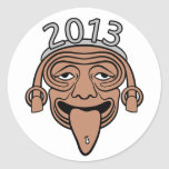 2013 Mayan Party Guy Round Stickers