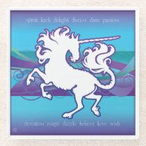 2013 Mink Nest Inspirational Unicorn Glass Coaster
