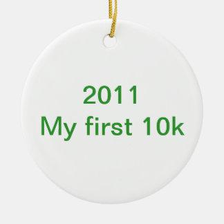 2013 mis primeros 10 k adorno navideño redondo de cerámica