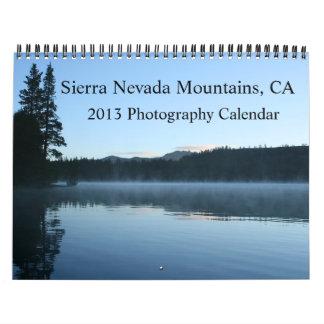 2013 montañas de Sierra Nevada, calendario de