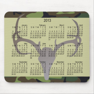 2013 New Year Calendar Camo with Deer Skull Mouse Pad