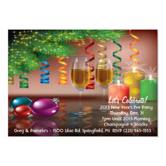 2013 New Year's Eve 5x7 Paper Invitation Card