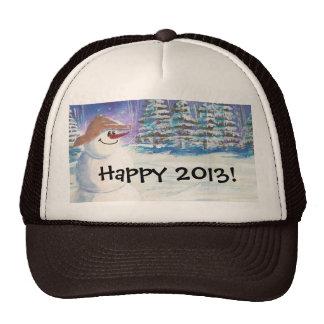 2013 New Years Snowman Art Hat