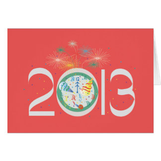 2013 New Years with bright fireworks & party hats Card