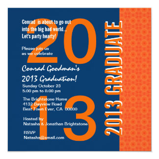 2013 or Any Year Graduation Blue and Orange G441 Card