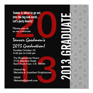 2013 or Any Year Graduation Silver Red Black G434 Card