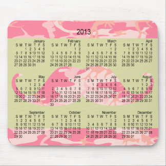 2013 Pink Camouflage Mustache Stache Calendar Mouse Pad