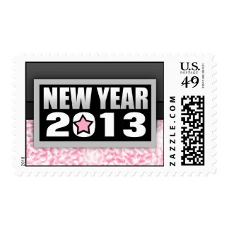 2013 Pink Confetti New Year Postage Stamps