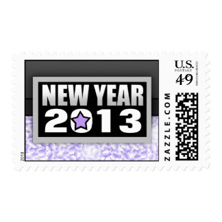 2013 Purple Confetti New Year Postage Stamps