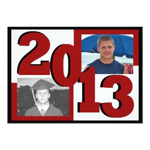 2013 Red Block Grad Photo 5x7 Paper Invitation Card