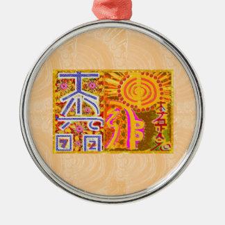 2013 ver. REIKI Healing MASTER Symbols Round Metal Christmas Ornament