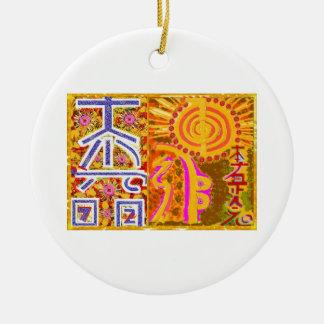 2013 ver. REIKI Healing MASTER Symbols Double-Sided Ceramic Round Christmas Ornament