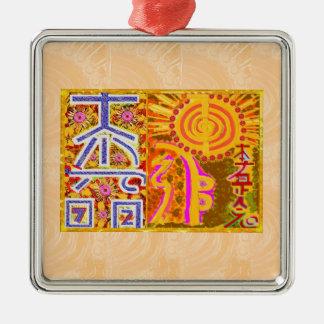 2013 ver. REIKI Healing MASTER Symbols Square Metal Christmas Ornament