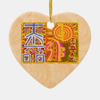 2013 ver. REIKI Healing MASTER Symbols Double-Sided Heart Ceramic Christmas Ornament