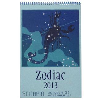2013 Vintage Celestial Signs Zodiac Constellations Calendar