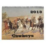 2013 Vintage Fine Art American West Cowboys Wall Calendar