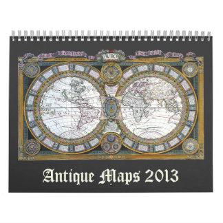 2013 Vintage Illustraion Antique World Maps Calendars