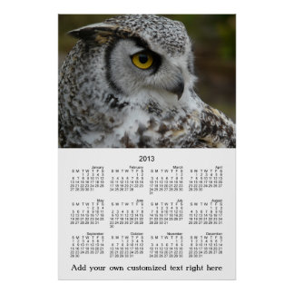 2013 Wall Poster OWL Profile Photo Yearly Calendar