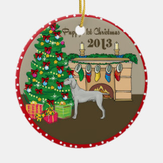 2013 Weimaraner Puppys First Christmas Christmas Ornaments