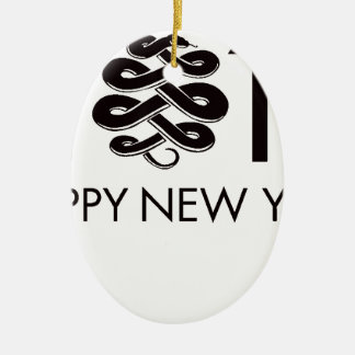 2013 - Year of the Snake Double-Sided Oval Ceramic Christmas Ornament