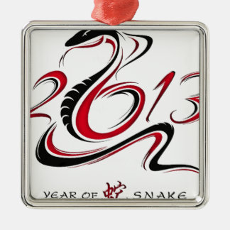 2013 - Year of the Snake Square Metal Christmas Ornament