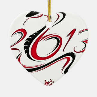 2013 - Year of the Snake Double-Sided Heart Ceramic Christmas Ornament