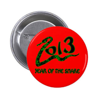2013 Year of the Snake with Green Snake Button