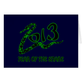 2013 Year of the Snake with Green Snake Greeting Card