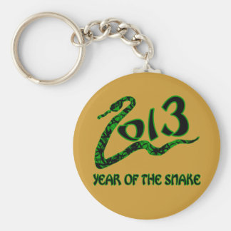 2013 Year of the Snake with Green Snake Basic Round Button Keychain