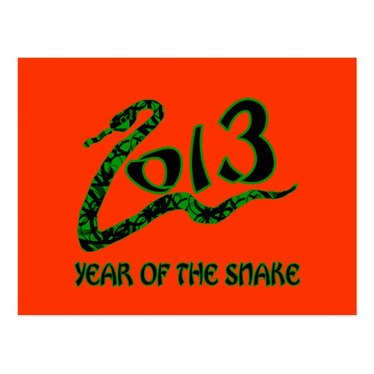 2013 Year of the Snake with Green Snake Postcard