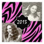2013 Zebra Stripe Graduation Photo Custom Invite
