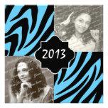 2013 Zebra Stripe Graduation Photo Custom Invites