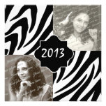 2013 Zebra Stripe Graduation Photo Personalized Invites
