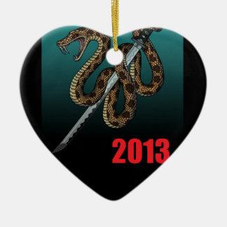 2013e Double-Sided heart ceramic christmas ornament