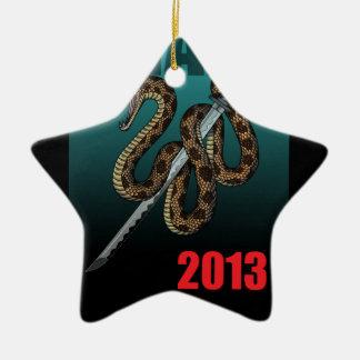 2013e Double-Sided star ceramic christmas ornament