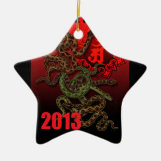 2013f Double-Sided star ceramic christmas ornament