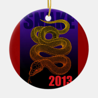 2013snake (a) Double-Sided ceramic round christmas ornament