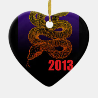 2013snake (a) Double-Sided heart ceramic christmas ornament