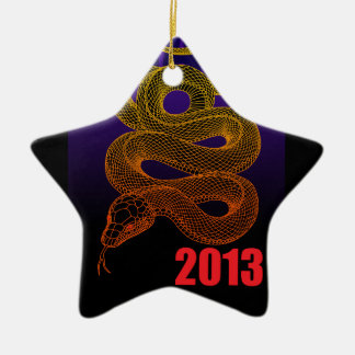 2013snake (a) Double-Sided star ceramic christmas ornament