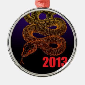 2013snake (a) round metal christmas ornament