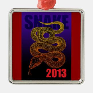 2013snake (a) square metal christmas ornament