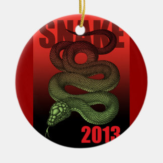 2013SNAKE (B) Double-Sided CERAMIC ROUND CHRISTMAS ORNAMENT
