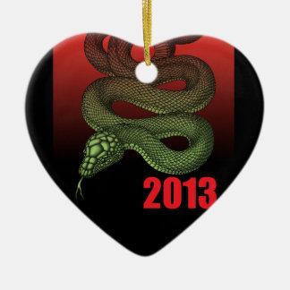 2013SNAKE (B) Double-Sided HEART CERAMIC CHRISTMAS ORNAMENT