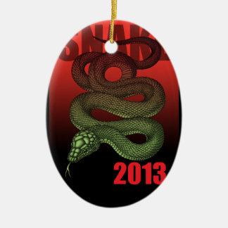 2013SNAKE (B) Double-Sided OVAL CERAMIC CHRISTMAS ORNAMENT