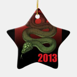 2013SNAKE (B) Double-Sided STAR CERAMIC CHRISTMAS ORNAMENT