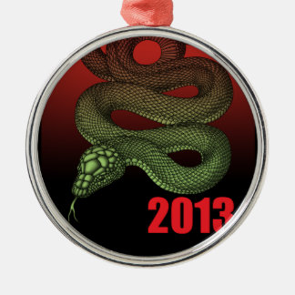 2013SNAKE (B) ROUND METAL CHRISTMAS ORNAMENT