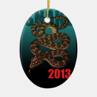 2013SNAKE (C) Double-Sided OVAL CERAMIC CHRISTMAS ORNAMENT